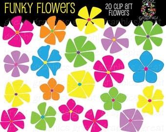 Retro Clipart Retro Flower Clipart Digital Retro Clip Art Flower Printable Flower Clip Art Scrapbook Clip Art - Instant Download
