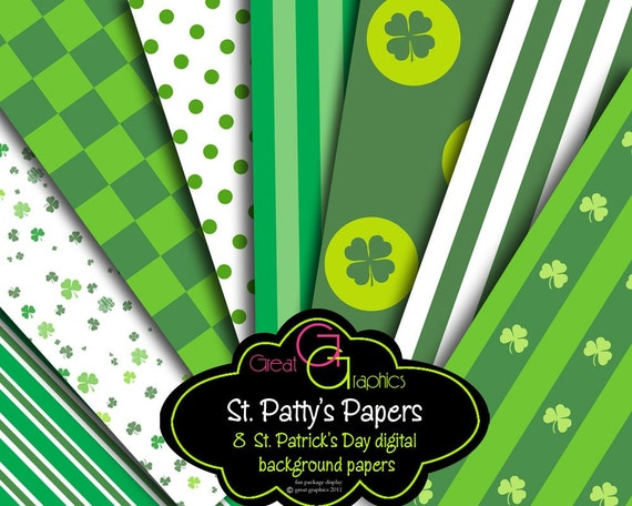 St. Patricks Day Digital Paper St Pattys Party Paper Saint Patricks Day Printable Invitation Paper Shamrock - Instant Download