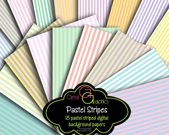 Pastel Stripe Digital Paper Striped Paper Printable Scrapbook Paper Pastel Invitation Digital Paper - Instant Download