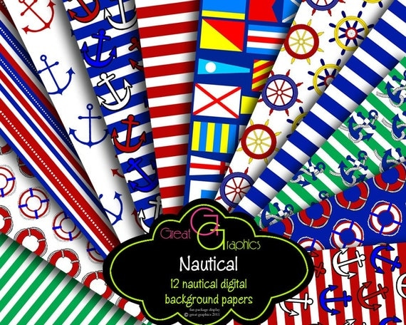 Nautical Paper Digital Nautical Digital Paper Nautical Digital Paper Nautical Flag Nautical Stripe - Instant Download