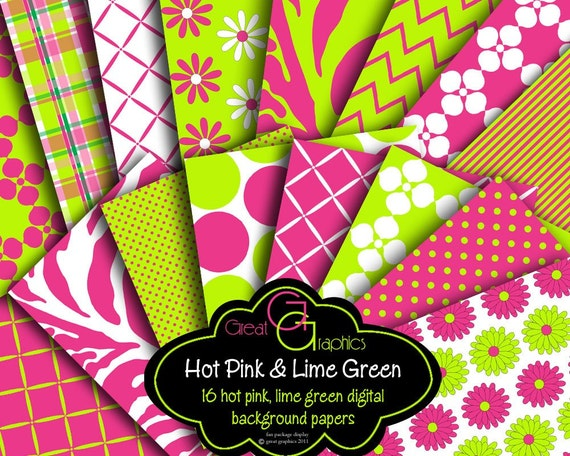 Pink and Green Digital Paper Party Printable Preppy Pink and Green Paper Chevron Pink Zebra - Instant Download