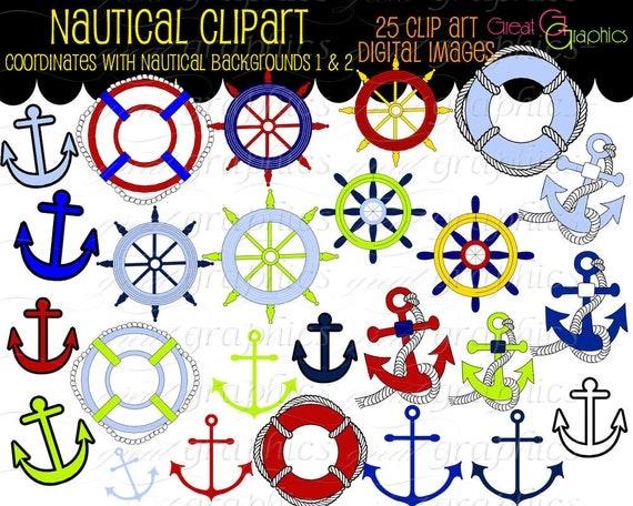 Nautical Clip Art, Nautical Digital, Anchor Clipart, Nautical Clipart, Digital Nautical, Sailing Clipart, Instant Download