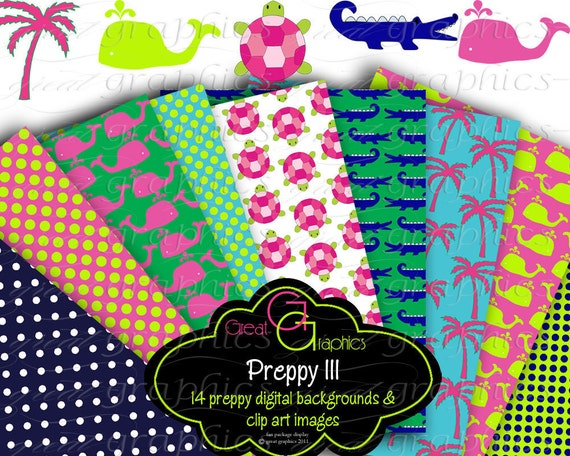 Printable Preppy Paper Preppy Alligator Whale Palm Tree Clip Art Digital Paper Printable Clipart - Instant Download