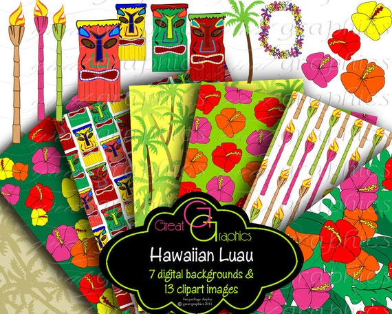 hawaiian luau digital paper luau party clip art hawaii