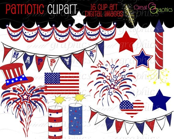 4th of July Digital Clip Art July 4th Clipart Printable Independence Day Digital Party Clip Art Red White and Blue - Instant Download