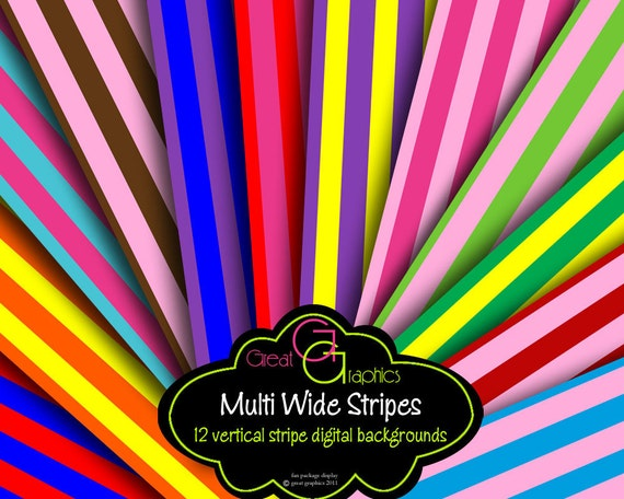 Stripe Digital Paper Stripe Paper Digital Stripes Party Paper Multi Color Stripes Printable Background Paper - Instant Download