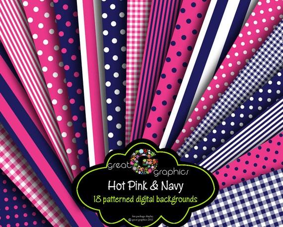 Hot Pink and Navy Digital Paper Polka Dot Paper Digital Background Digital Pattern Printable Paper Instant Download