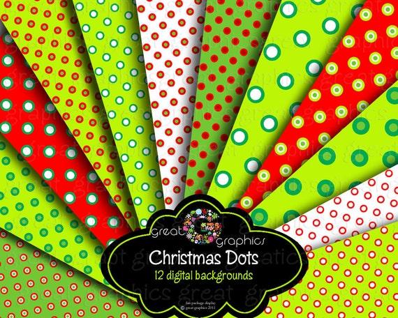 Christmas Digital Printable Paper Invitation Paper Digital Paper Christmas Red and Green Polka Dot Paper - Instant Download