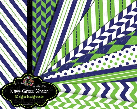 Navy and Green Digital Paper Navy Blue and Green, Green and Navy Digital Background Printable Paper Instant Download