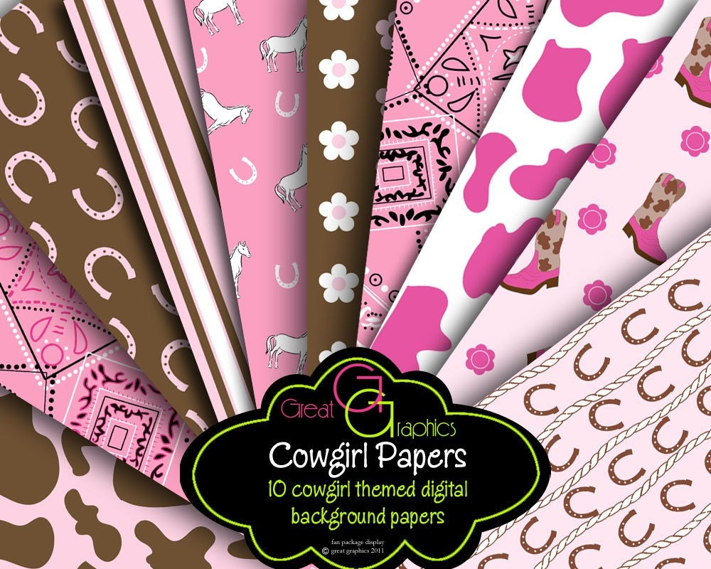Cowgirl Birthday Decorations Cowgirl Digital Paper Pink Cowgirl Party Paper Cowgirl