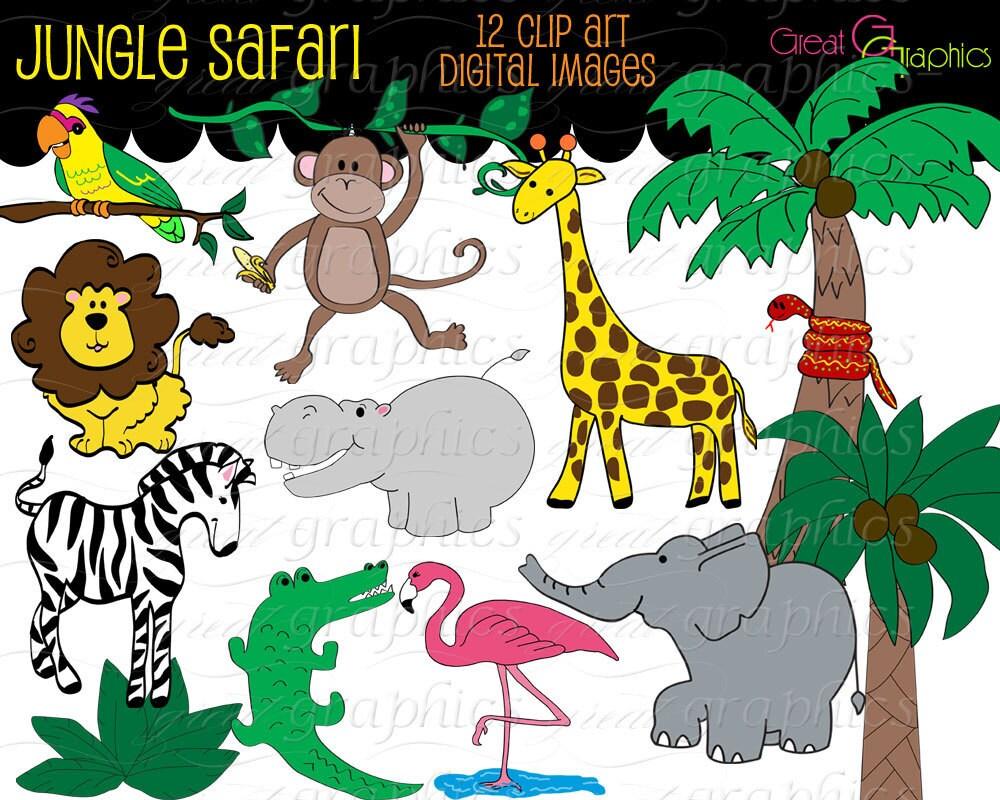 Jungle Animal Clip Art Digital Clipart Birthday Party Clipart