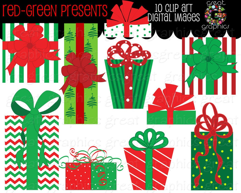 Christmas Present Clip Art Red and Green Christmas Present