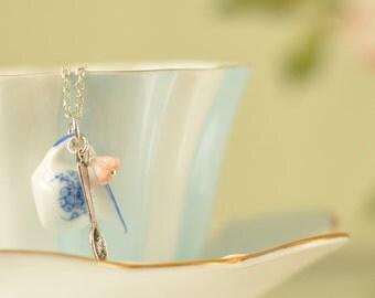 Beatrice Porcelain China Pendant Necklaces