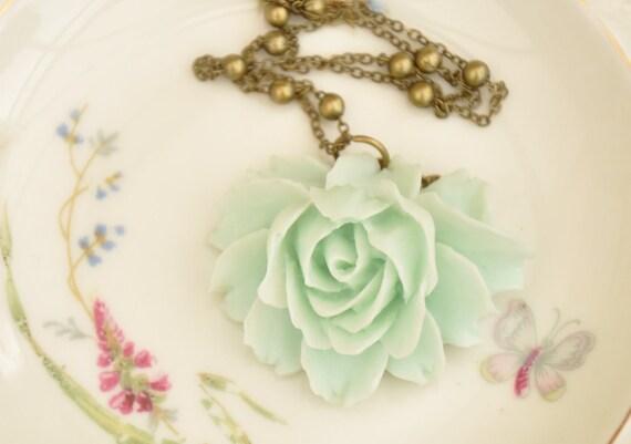 Amandine Mint Green Rose Cabochon Pendant Necklace