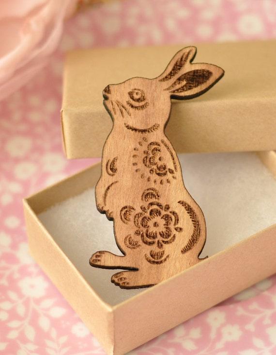 Binky Wooden Rabbit Brooch
