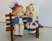 Lefton Patriotic Kissing Couple Salt and Pepper Set