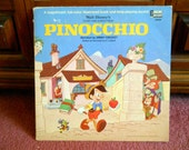 Walt Disney's Pinocchio Vinyl Record - Story and Songs - Vintage Childrens Album