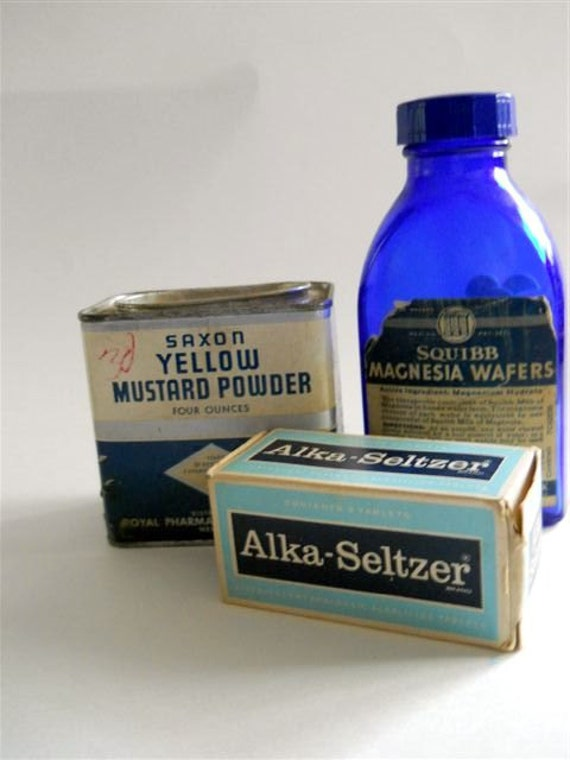 Got Gas- Vintage Medicine Containers - Alka Seltzer, Mustard Powder, and Magnesia Wafers