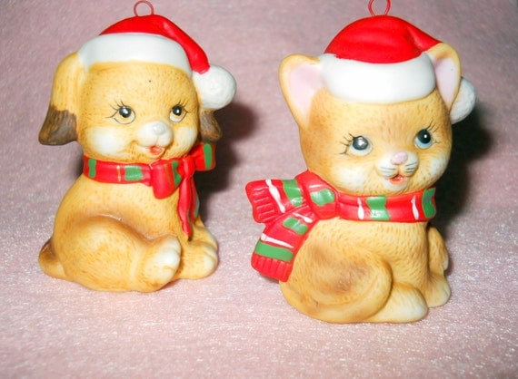 Cat And Dog Christmas Ornaments By Russ