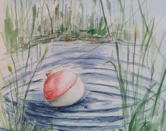 Fishing Pond, Watercolor Painting Print, landscape watercolor art, watercolor print, fishing painting, summer painting, pond lake fishing.