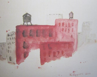 Brooklyn, acuarela arte grabado, acuarela, paisaje acuarela, pintura al paisaje urbano, escena urbana, edificios, pintura de acuarela.