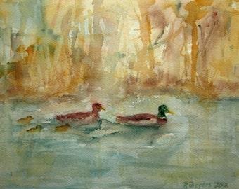 Print Of Original Watercolor Landscape Painting, watercolor art watercolor print wildlife painting, animal art duck painting pond artwork.