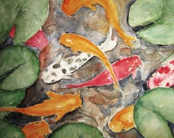 Koi Pond, Print of Original Watercolor Painting, watercolor art watercolor print, landscape fish painting, Koi painting archival print.