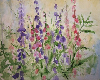 Foxgloves, Print of Original Watercolor Painting, watercolor art, summer garden flowers, garden print, watercolor landscape, garden painting