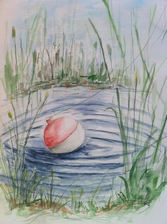Freshwater fish art - Fishing Pond Watercolor Painting Print Landscape Watercolor Art Watercolor Print Fishing Painting Summer Painting Pond Lake Fishing