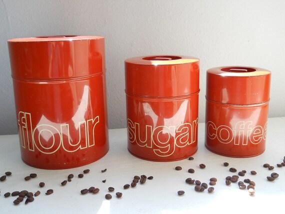 Burnt orange kitchen canisters set of three for Kitchen set orange