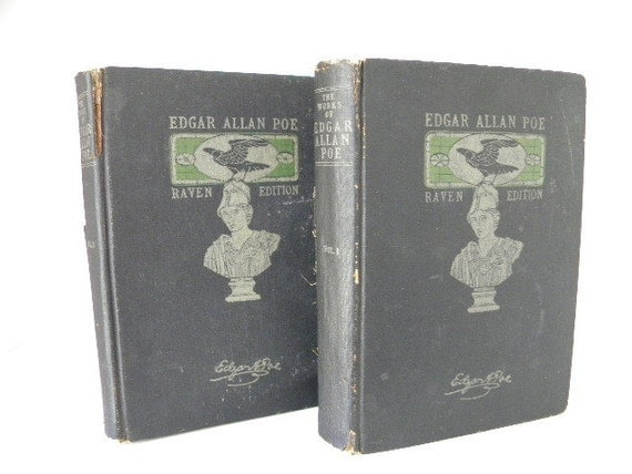 Edgar Allan Poe... RAVEN edition antique book pair