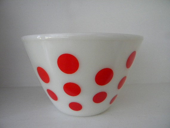 Retro Fire King red dot mixing bowl