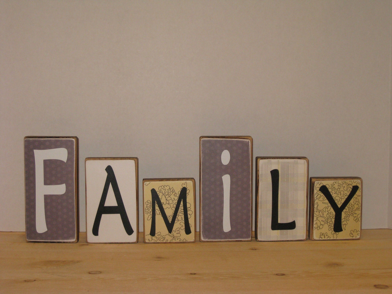 Family Blocks Wood Home Decor Blocks By PerfectlyAdorning