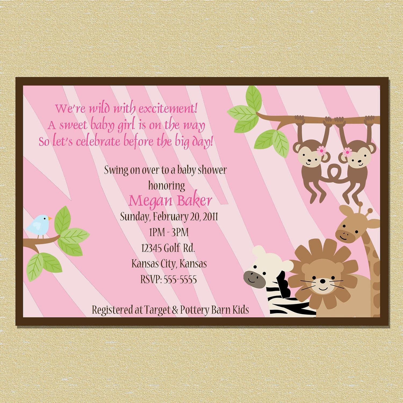safari pink zebra print jungle baby shower by littlemunchkinprints