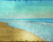 Beach Seaside Photograph Dreamy Beach Golden Brown Blue Teal Wall Art 8x12 Coastal Shore Photograph - KalstekPhotography