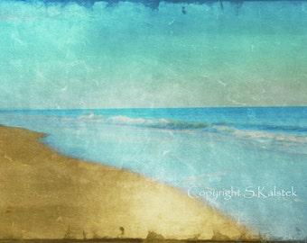 Beach Seaside Photograph Ocean Shore Golden Brown Blue Teal Wall Art 8x12 Coastal Shore Photograph