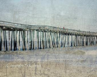 Ocean Pier Photograph Beach Art  Aqua Blue Brown Serene Romantic Beach Boardwalk Print 12x8
