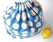 Large Drawstring Bag / Library Bag - Large Dots (Blue)