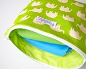 Zippered Pouch / Nappy Wallet / Diaper Case with Cotton Lining (Not a Wet Bag) - Green Elephants