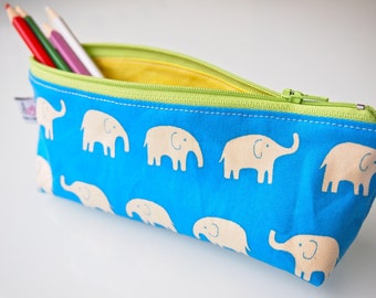 Zippered Pencil Case / Pouch - Blue Elephants