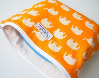 Zippered Pouch / Nappy or Diaper Case - Orange Elephants (Not a Wet Bag)