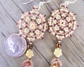 Handmade Artisan Beadwork Earrings - Beadweaving - Mandala - Beadwoven