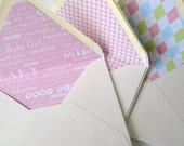 Lined Envelopes, 100% Recycled Content, Set of 12, Baby Girl