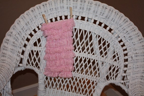 Medium Baby Pink Lace Romper and Three Shabby Chic Flower Clips