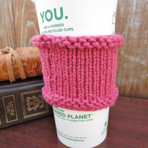 Coffee Cozy - Rose Pink - Hand Knit