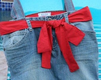 Red Denim Bag/Purse/Tote made from recycled jeans