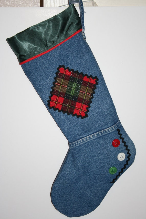 Christmas Stocking from Recycled Denim Jeans Green Satin Cuff and Plaid Patch