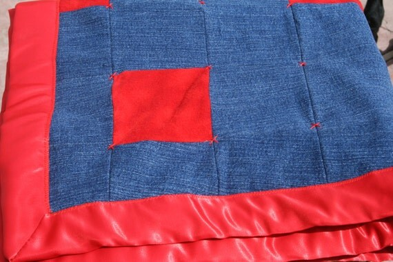 Denim and Red Flannel Baby Blanket Jean Quilt