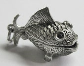 Vintage Sterling Fish opens to Fish Hook Charm