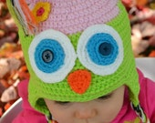 Crochet OWL Baby Infant Hat with Earflaps